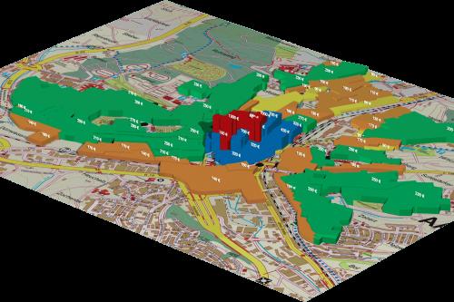 3D-Darstellung Bodenrichtwerte