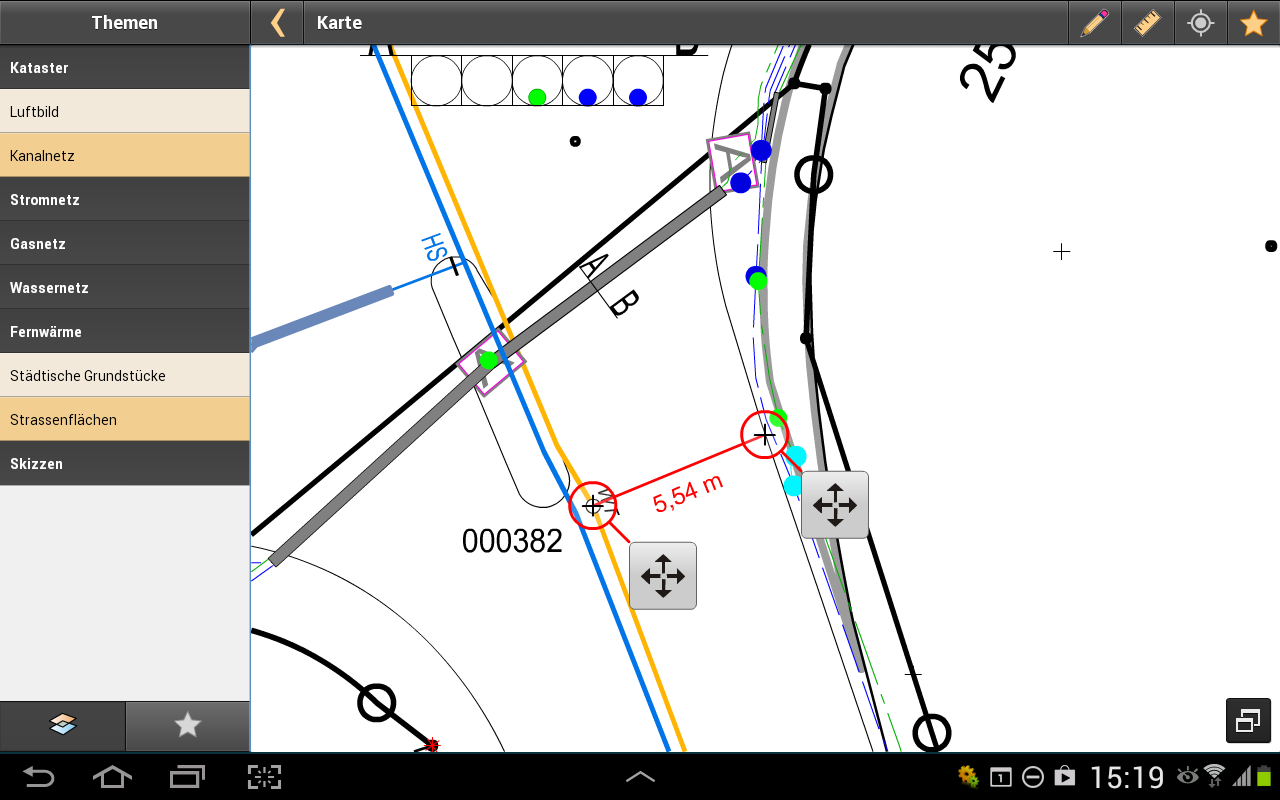 Die Messfunktion der GeoApp in Aktion.